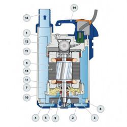 Pompe de relevage Pedrollo Top Floor jusqu'à 9,6 m3/h monophasé 220V