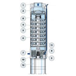 """Pompe immergée 4"""" Pedrollo 4SR4 de 2,5 à 5 m3/h - Moteur bain d'eau 4PS monophasé 220V"""