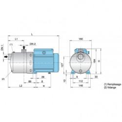 Pompe a eau Calpeda MXH multicellulaire tout inox jusqu'à 8 m3/h triphasé 380V