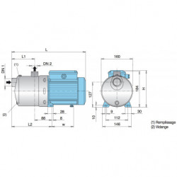 Pompe a eau Calpeda MXH multicellulaire tout inox jusqu'à 25 m3/h triphasé 380V