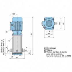 Pompe a eau Calpeda MXV-B multicellulaire tout inox jusqu'à 8 m3/h triphasé 380V